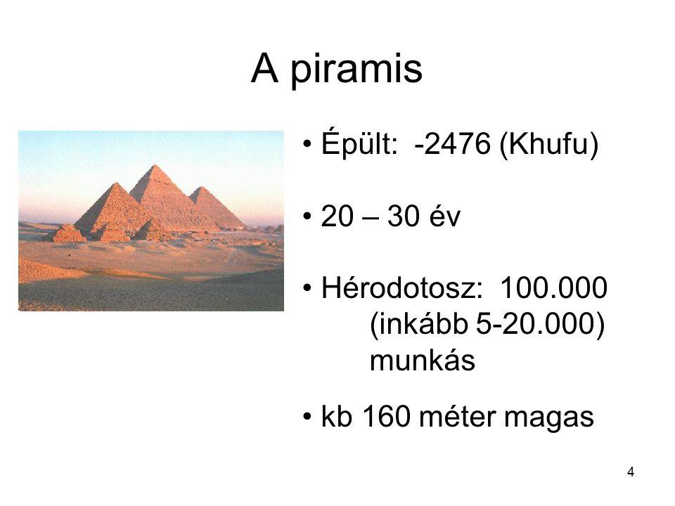 4 A piramis Épült: -2476 (Khufu) 20 – 30 év Hérodotosz: 100.000 (inkább 5-20.000) munkás kb 160 méter magas