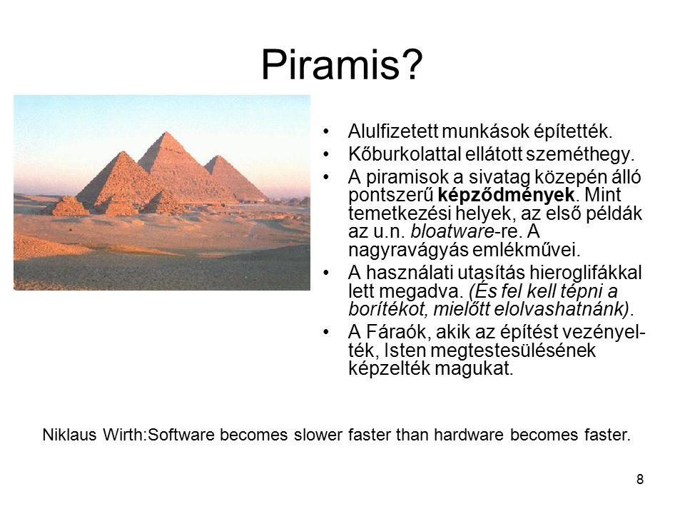 8 Piramis. Alulfizetett munkások építették. Kőburkolattal ellátott szeméthegy.
