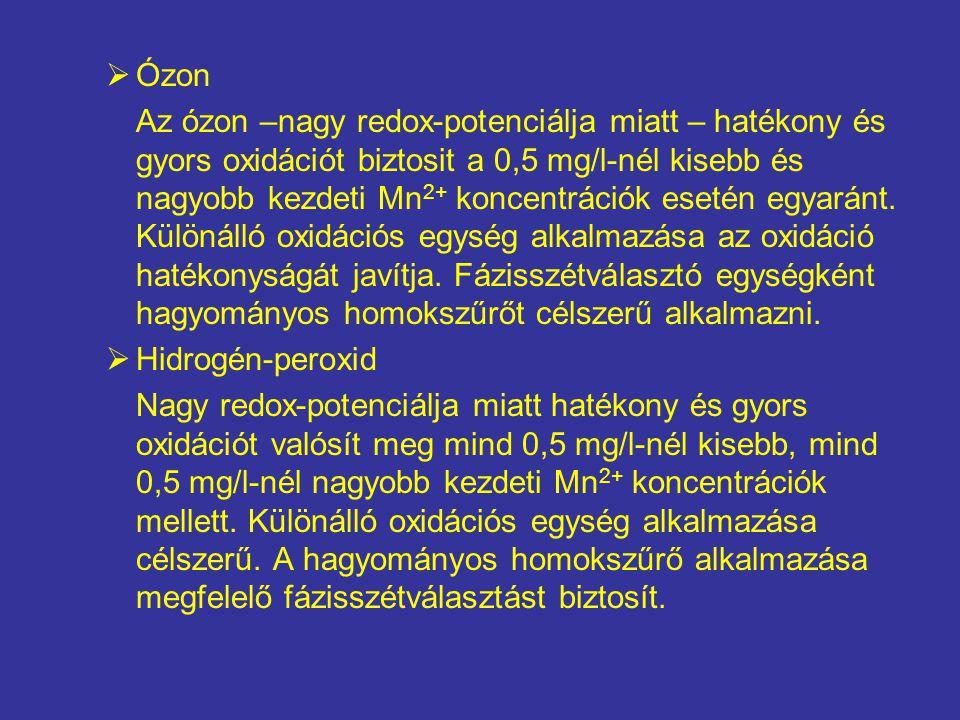  Ózon Az ózon –nagy redox-potenciálja miatt – hatékony és gyors oxidációt biztosit a 0,5 mg/l-nél kisebb és nagyobb kezdeti Mn 2+ koncentrációk esetén egyaránt.