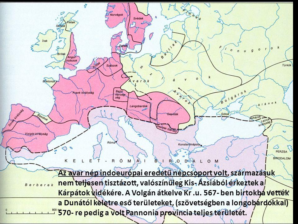 Az avar nép indoeurópai eredetű népcsoport volt, származásuk nem teljesen tisztázott, valószínűleg Kis- Ázsiából érkeztek a Kárpátok vidékére. A Volgá