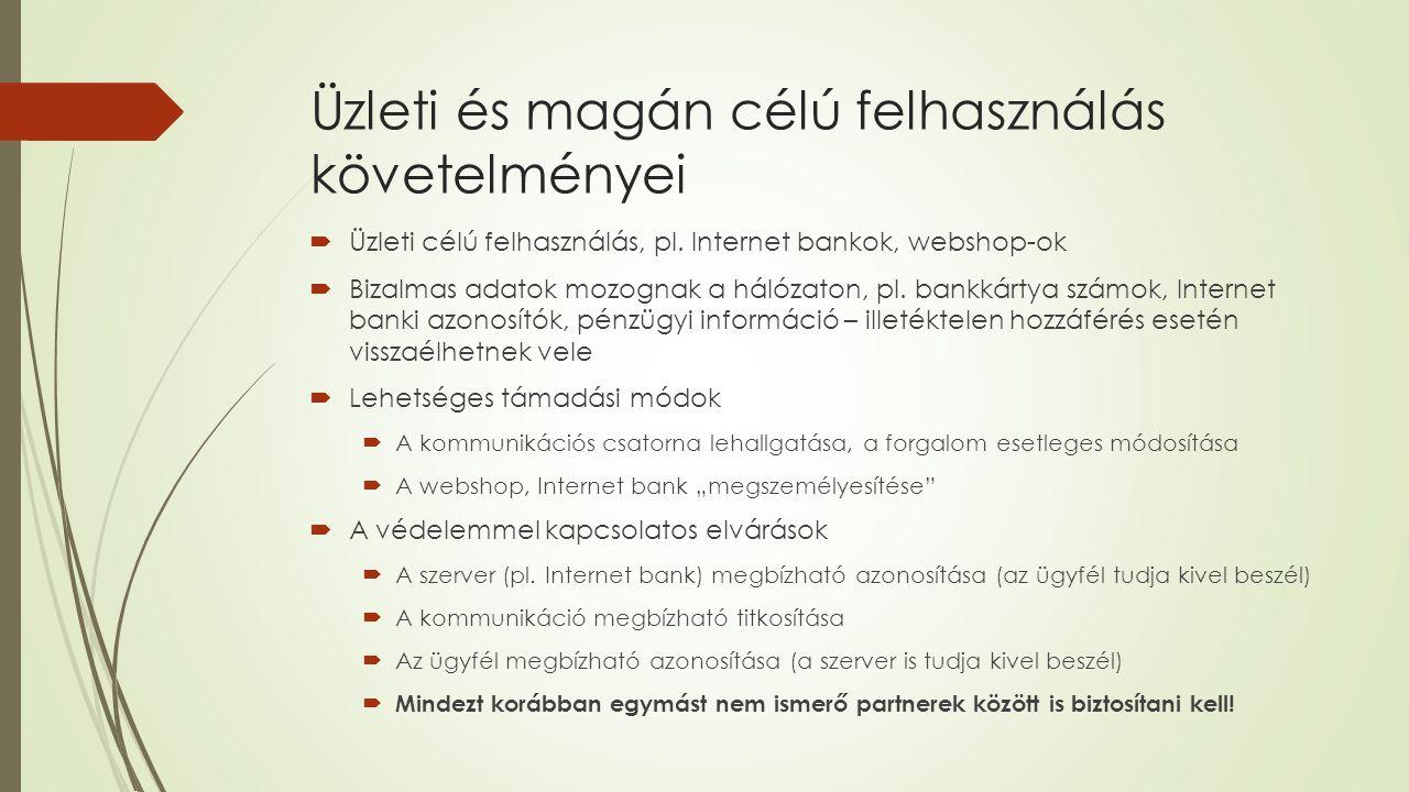Üzleti és magán célú felhasználás követelményei  Üzleti célú felhasználás, pl.