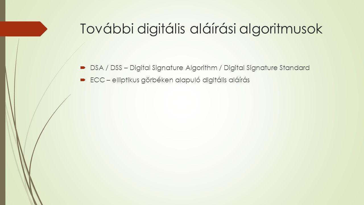 További digitális aláírási algoritmusok  DSA / DSS – Digital Signature Algorithm / Digital Signature Standard  ECC – elliptikus görbéken alapuló digitális aláírás