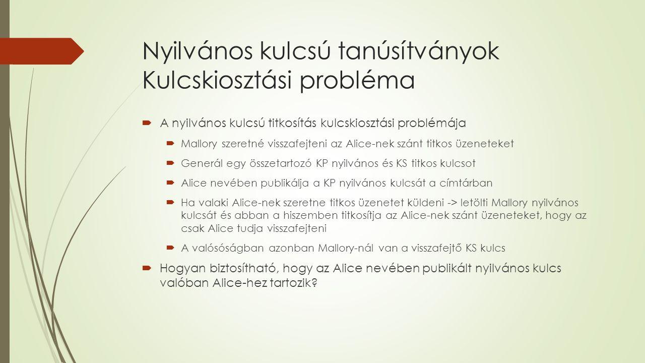 Nyilvános kulcsú tanúsítványok Kulcskiosztási probléma  A nyilvános kulcsú titkosítás kulcskiosztási problémája  Mallory szeretné visszafejteni az Alice-nek szánt titkos üzeneteket  Generál egy összetartozó KP nyilvános és KS titkos kulcsot  Alice nevében publikálja a KP nyilvános kulcsát a címtárban  Ha valaki Alice-nek szeretne titkos üzenetet küldeni -> letölti Mallory nyilvános kulcsát és abban a hiszemben titkosítja az Alice-nek szánt üzeneteket, hogy az csak Alice tudja visszafejteni  A valósóságban azonban Mallory-nál van a visszafejtő KS kulcs  Hogyan biztosítható, hogy az Alice nevében publikált nyilvános kulcs valóban Alice-hez tartozik?
