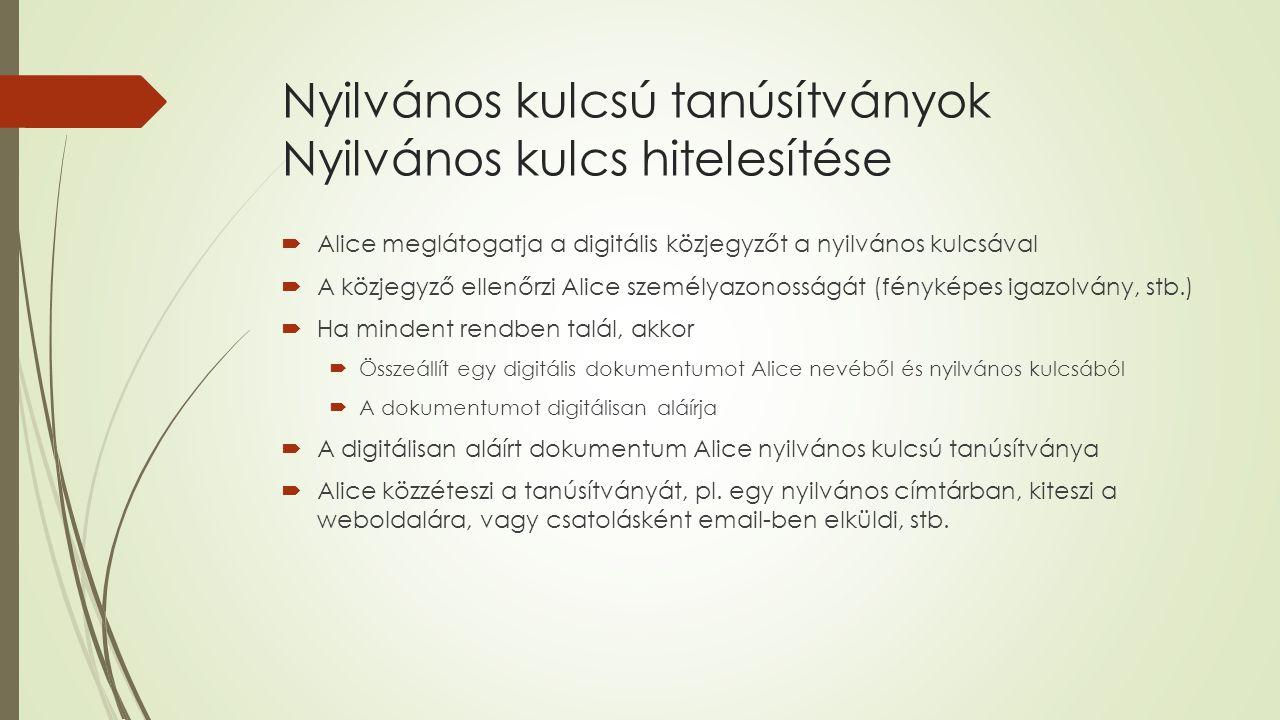 Nyilvános kulcsú tanúsítványok Nyilvános kulcs hitelesítése  Alice meglátogatja a digitális közjegyzőt a nyilvános kulcsával  A közjegyző ellenőrzi Alice személyazonosságát (fényképes igazolvány, stb.)  Ha mindent rendben talál, akkor  Összeállít egy digitális dokumentumot Alice nevéből és nyilvános kulcsából  A dokumentumot digitálisan aláírja  A digitálisan aláírt dokumentum Alice nyilvános kulcsú tanúsítványa  Alice közzéteszi a tanúsítványát, pl.