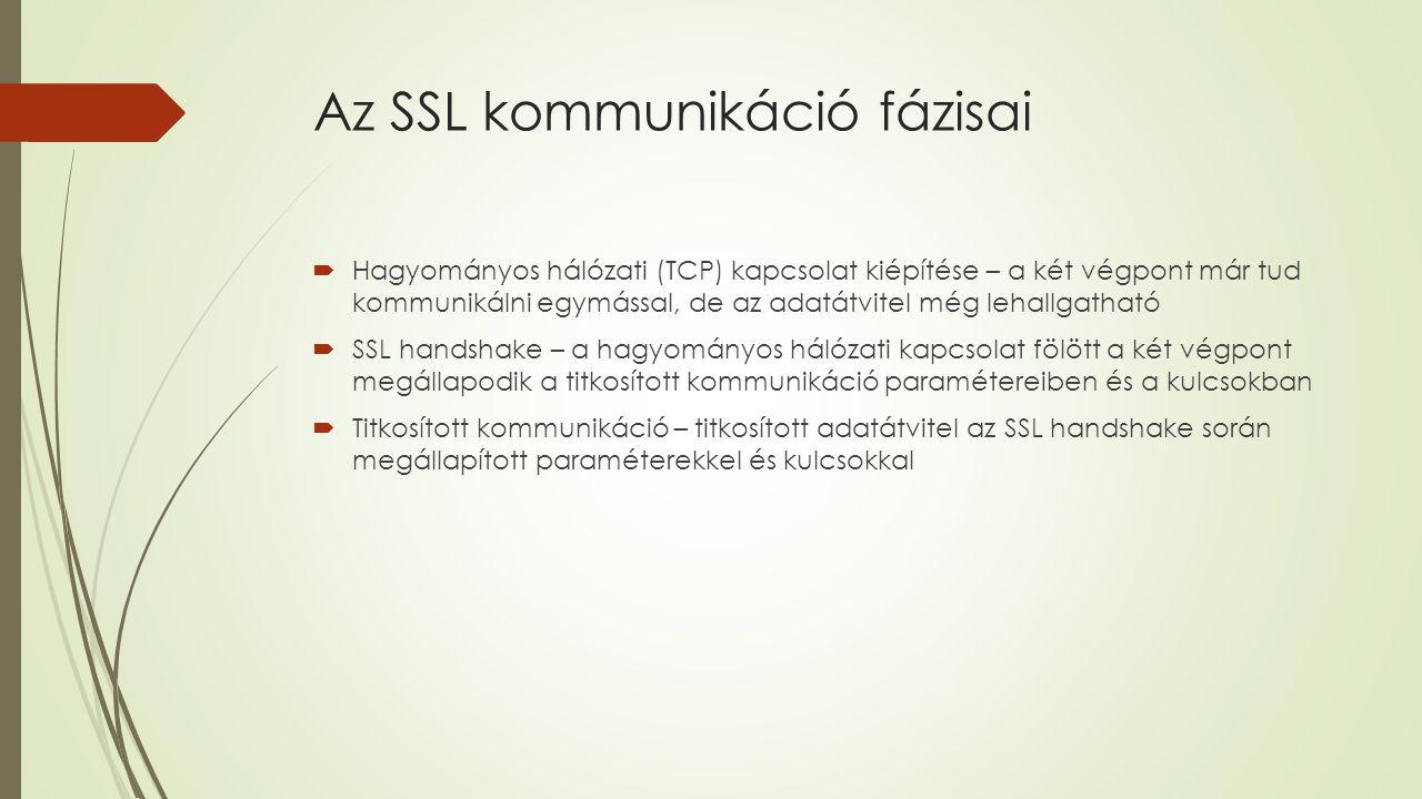 Az SSL kommunikáció fázisai  Hagyományos hálózati (TCP) kapcsolat kiépítése – a két végpont már tud kommunikálni egymással, de az adatátvitel még lehallgatható  SSL handshake – a hagyományos hálózati kapcsolat fölött a két végpont megállapodik a titkosított kommunikáció paramétereiben és a kulcsokban  Titkosított kommunikáció – titkosított adatátvitel az SSL handshake során megállapított paraméterekkel és kulcsokkal