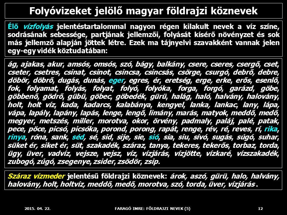 2015. 04. 22.FARAGÓ IMRE: FÖLDRAJZI NEVEK (5)12 Élő vízfolyás jelentéstartalommal nagyon régen kilakult nevek a víz színe, sodrásának sebessége, partj