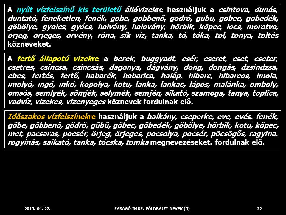 2015. 04. 22.FARAGÓ IMRE: FÖLDRAJZI NEVEK (5)22 A nyílt vízfelszínű kis területű állóvizekre használjuk a csintova, dunás, duntató, feneketlen, fenék,