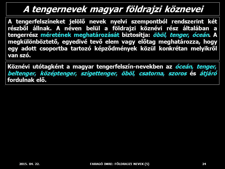2015. 04. 22.FARAGÓ IMRE: FÖLDRAJZI NEVEK (5)24 A tengerfelszíneket jelölő nevek nyelvi szempontból rendszerint két részből állnak. A néven belül a fö