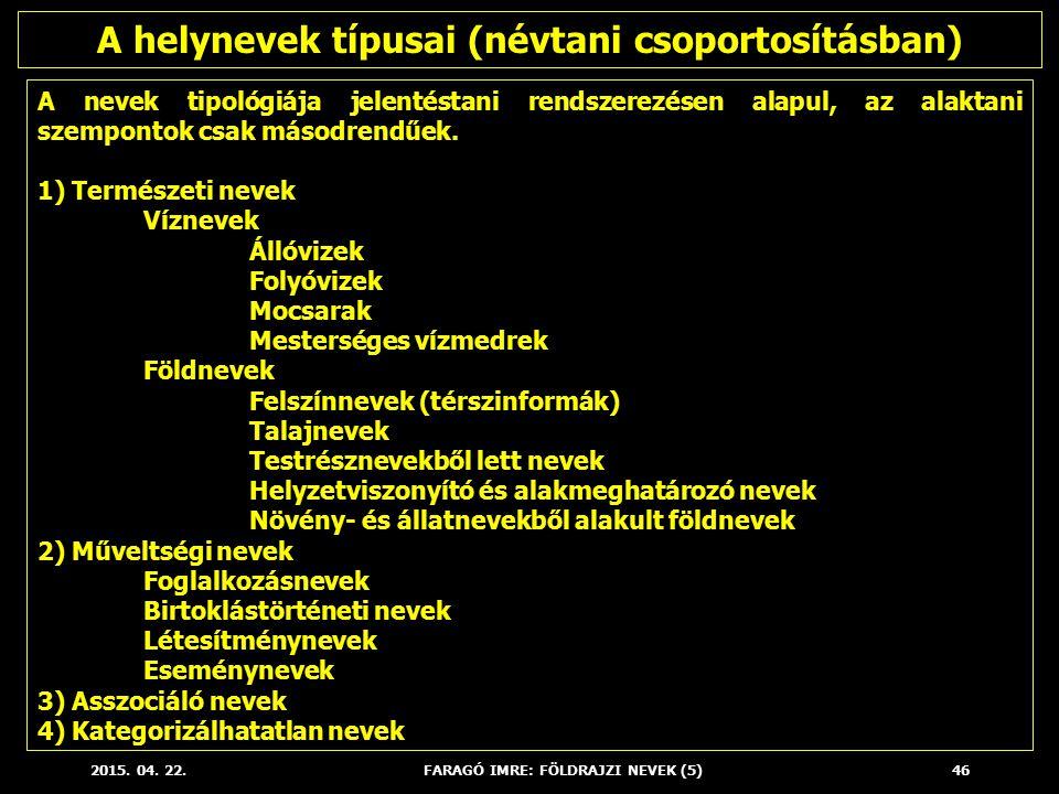 2015. 04. 22.FARAGÓ IMRE: FÖLDRAJZI NEVEK (5)46 A nevek tipológiája jelentéstani rendszerezésen alapul, az alaktani szempontok csak másodrendűek. 1) T