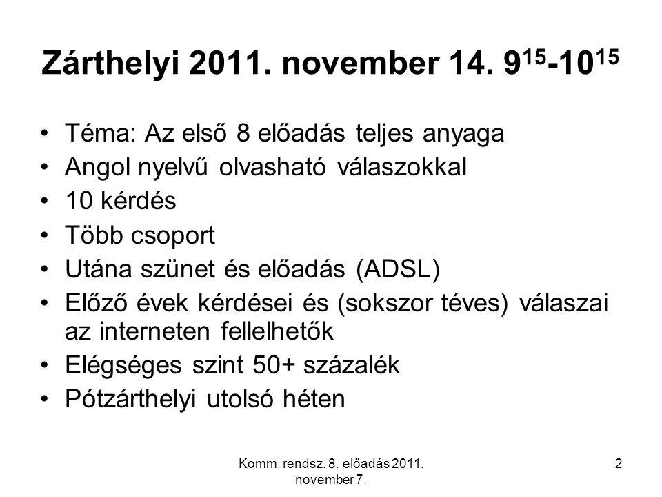 Komm. rendsz. 8. előadás 2011. november 7. 2 Zárthelyi 2011. november 14. 9 15 -10 15 Téma: Az első 8 előadás teljes anyaga Angol nyelvű olvasható vál