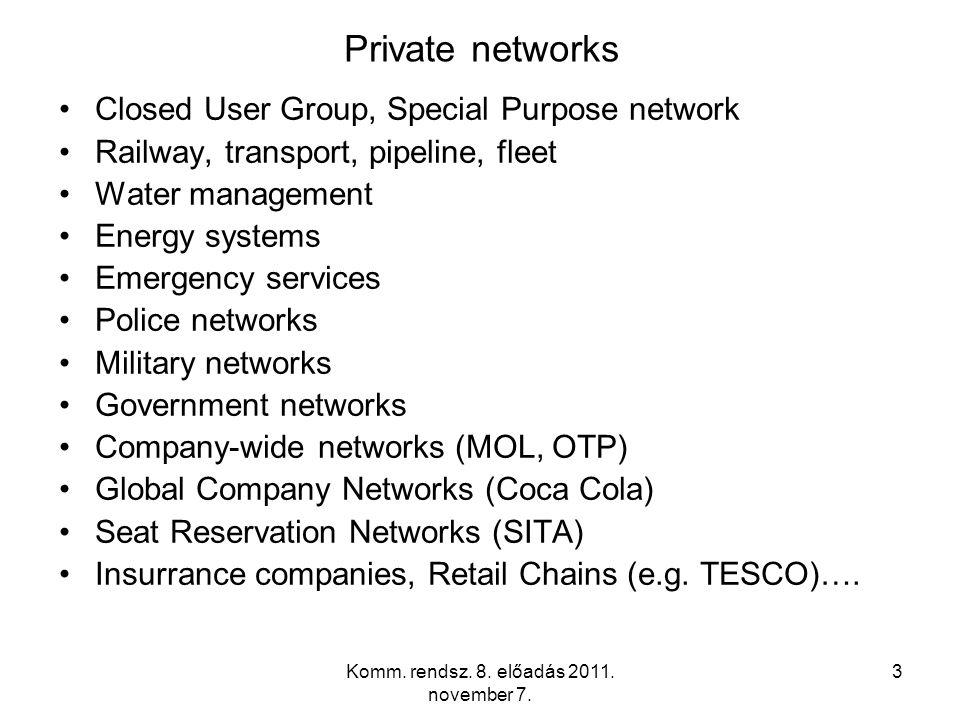 Komm. rendsz. 8. előadás 2011. november 7. 3 Private networks Closed User Group, Special Purpose network Railway, transport, pipeline, fleet Water man