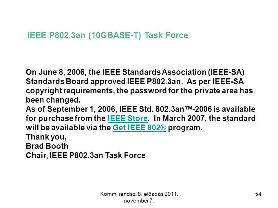 Komm. rendsz. 8. előadás 2011. november 7. 54 IEEE P802.3an (10GBASE-T) Task Force On June 8, 2006, the IEEE Standards Association (IEEE-SA) Standards
