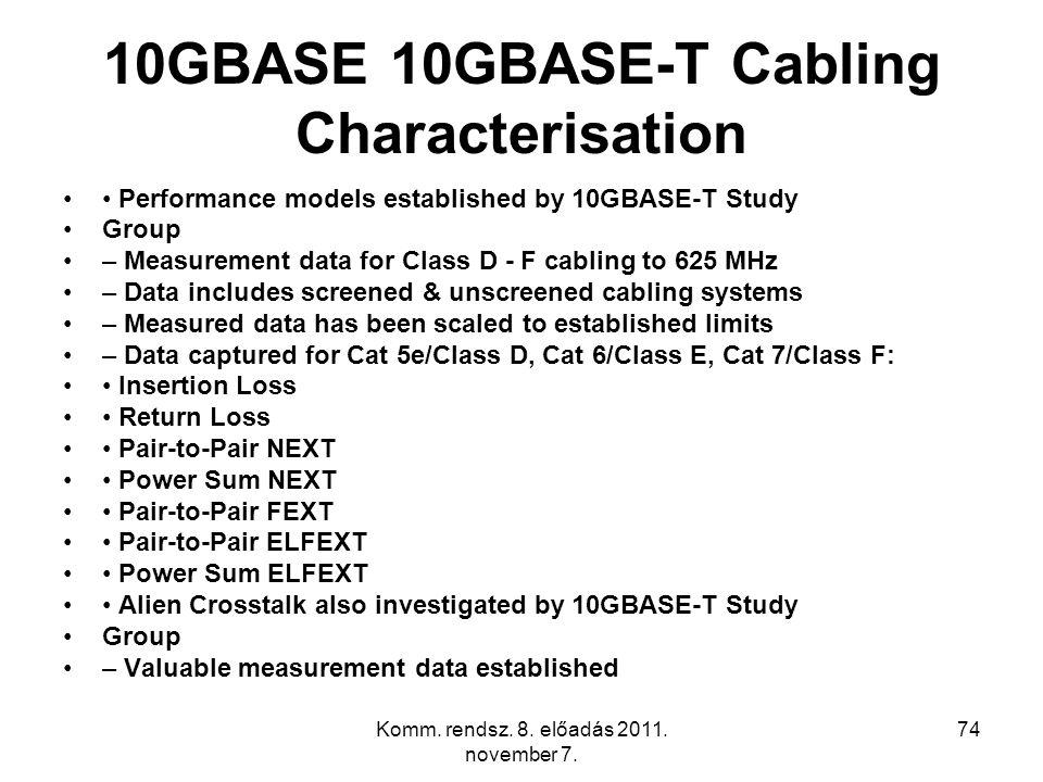 Komm. rendsz. 8. előadás 2011. november 7. 74 10GBASE 10GBASE-T Cabling Characterisation Performance models established by 10GBASE-T Study Group – Mea