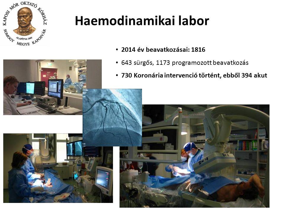 2014 év beavatkozásai: 1816 643 sürgős, 1173 programozott beavatkozás 730 Koronária intervenció történt, ebből 394 akut Haemodinamikai labor