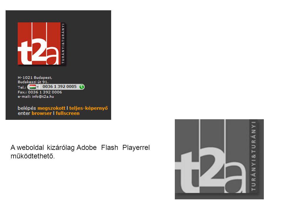 A weboldal kizárólag Adobe Flash Playerrel működtethető.