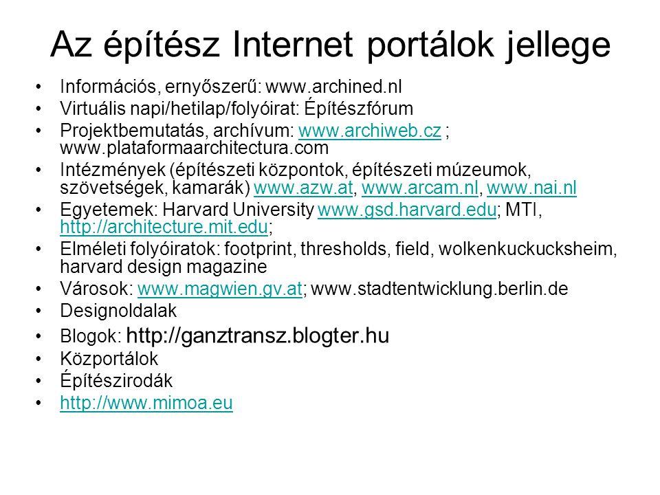 Az építész Internet portálok jellege Információs, ernyőszerű: www.archined.nl Virtuális napi/hetilap/folyóirat: Építészfórum Projektbemutatás, archívu