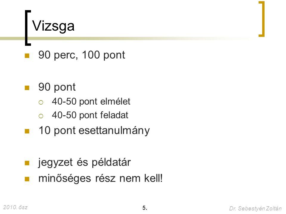 2010. ősz Dr. Sebestyén Zoltán 5. Vizsga 90 perc, 100 pont 90 pont  40-50 pont elmélet  40-50 pont feladat 10 pont esettanulmány jegyzet és példatár