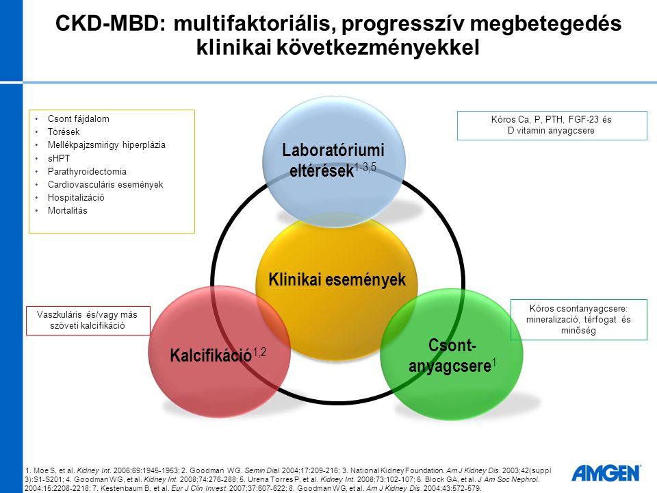 CKD-MBD: multifaktoriális, progresszív megbetegedés klinikai következményekkel Kalcifikáció 1,2 Klinikai események Csont- anyagcsere 1 Laboratóriumi e