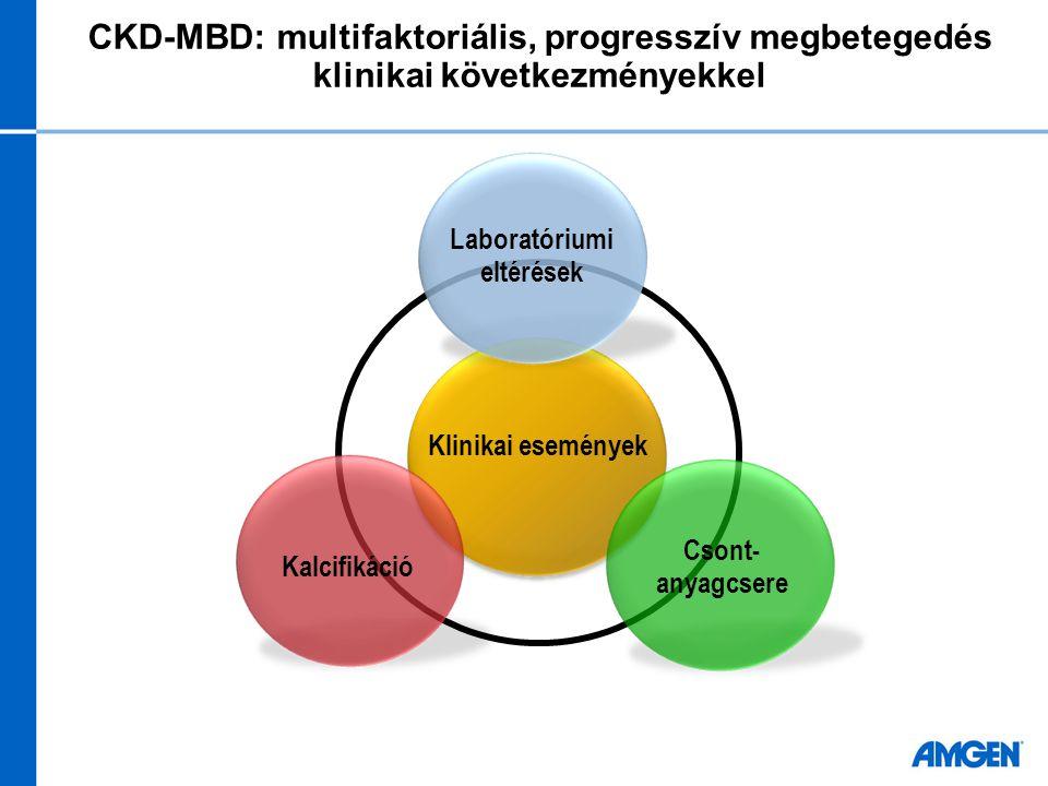 CKD-MBD: multifaktoriális, progresszív megbetegedés klinikai következményekkel Kalcifikáció Klinikai események Csont- anyagcsere Laboratóriumi eltérés