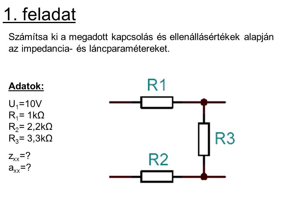 1. feladat Számítsa ki a megadott kapcsolás és ellenállásértékek alapján az impedancia- és láncparamétereket. Adatok: U 1 =10V R 1 = 1kΩ R 2 = 2,2kΩ R