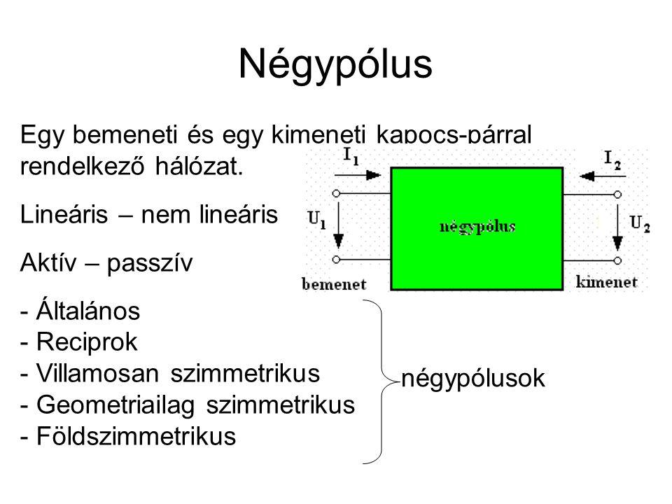 Négypólus Egy bemeneti és egy kimeneti kapocs-párral rendelkező hálózat. Lineáris – nem lineáris Aktív – passzív - Általános - Reciprok - Villamosan s
