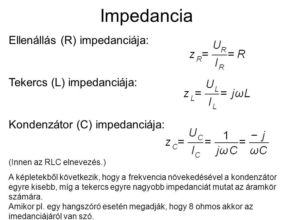 Impedancia Ellenállás (R) impedanciája: Tekercs (L) impedanciája: Kondenzátor (C) impedanciája: (Innen az RLC elnevezés.) A képletekből következik, hogy a frekvencia növekedésével a kondenzátor egyre kisebb, míg a tekercs egyre nagyobb impedanciát mutat az áramkör számára.