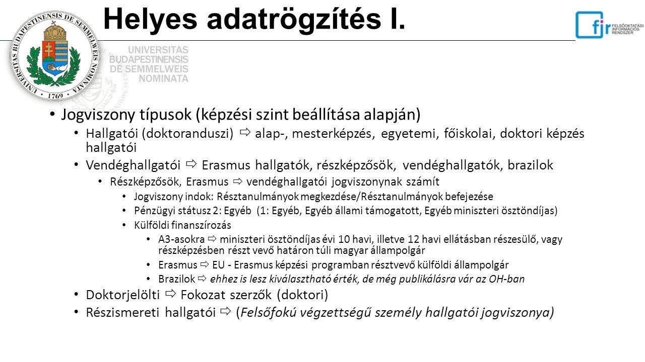 Helyes adatrögzítés I. Jogviszony típusok (képzési szint beállítása alapján) Hallgatói (doktoranduszi)  alap-, mesterképzés, egyetemi, főiskolai, dok