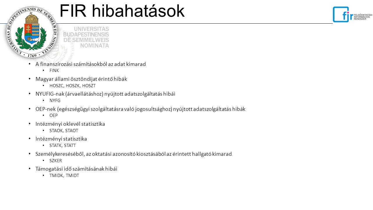 FIR hibahatások A finanszírozási számításokból az adat kimarad FINK Magyar állami ösztöndíjat érintő hibák HOSZC, HOSZK, HOSZT NYUFIG-nak (árvaellátás