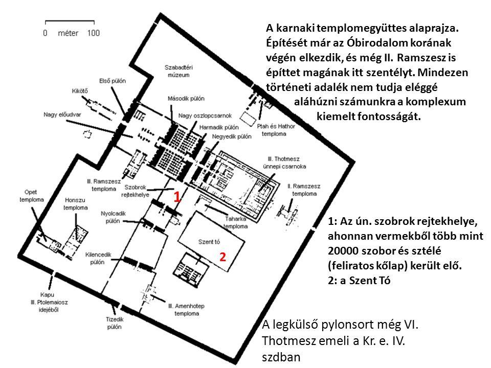 A karnaki templomegyüttes alaprajza. Építését már az Óbirodalom korának végén elkezdik, és még II. Ramszesz is építtet magának itt szentélyt. Mindezen