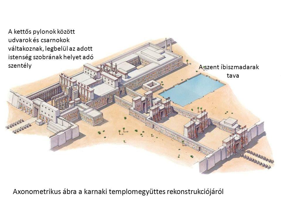 Axonometrikus ábra a karnaki templomegyüttes rekonstrukciójáról A kettős pylonok között udvarok és csarnokok váltakoznak, legbelül az adott istenség s