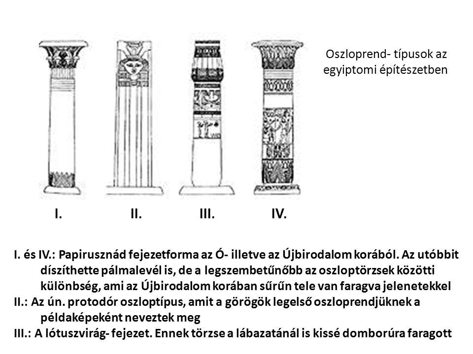 Oszloprend- típusok az egyiptomi építészetben I. II. III. IV. I. és IV.: Papirusznád fejezetforma az Ó- illetve az Újbirodalom korából. Az utóbbit dís