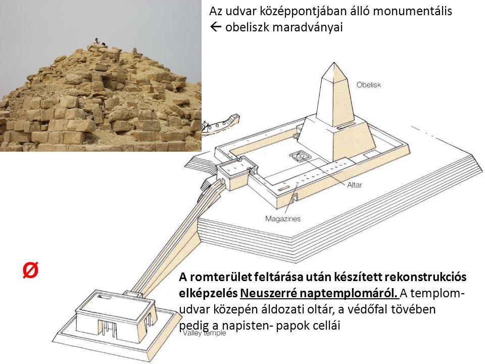 A romterület feltárása után készített rekonstrukciós elképzelés Neuszerré naptemplomáról. A templom- udvar közepén áldozati oltár, a védőfal tövében p