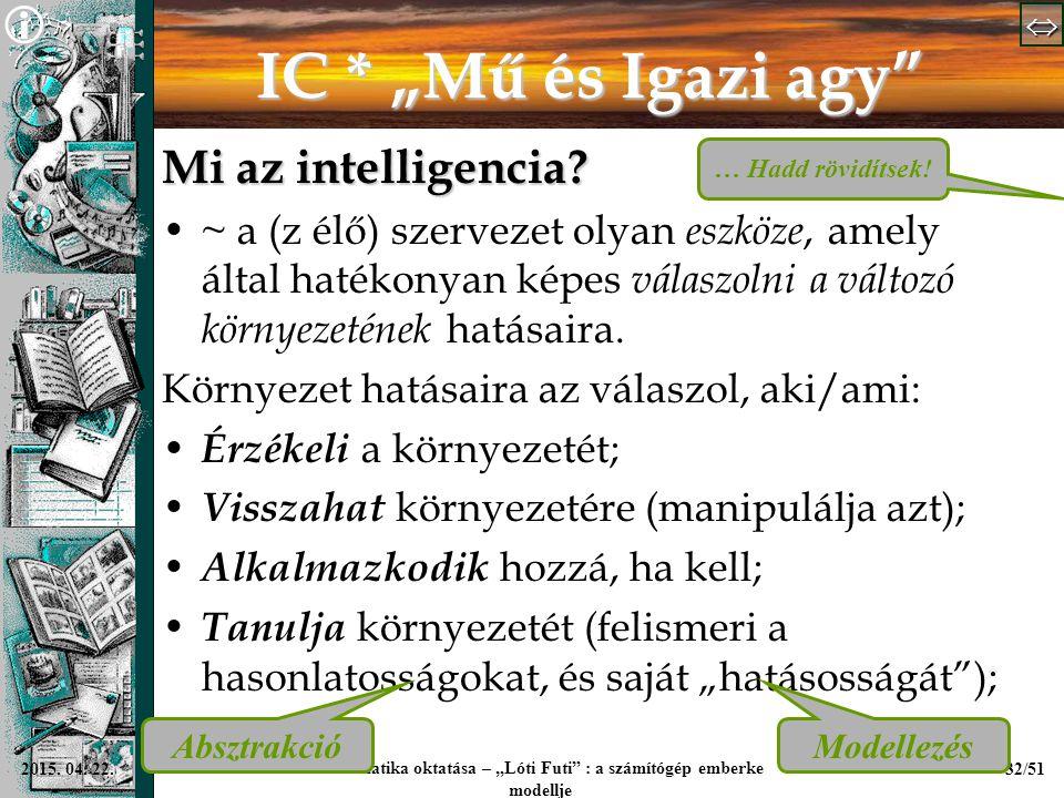 """  Informatika oktatása – """"Lóti Futi"""" : a számítógép emberke modellje 32/512015. 04. 22. IC * """"Mű és Igazi agy"""" Mi az intelligencia? ~ a (z élő"""