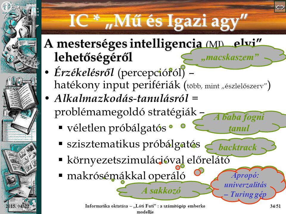 """  Informatika oktatása – """"Lóti Futi"""" : a számítógép emberke modellje 34/512015. 04. 22. IC * """"Mű és Igazi agy"""" A mesterséges intelligencia (MI"""
