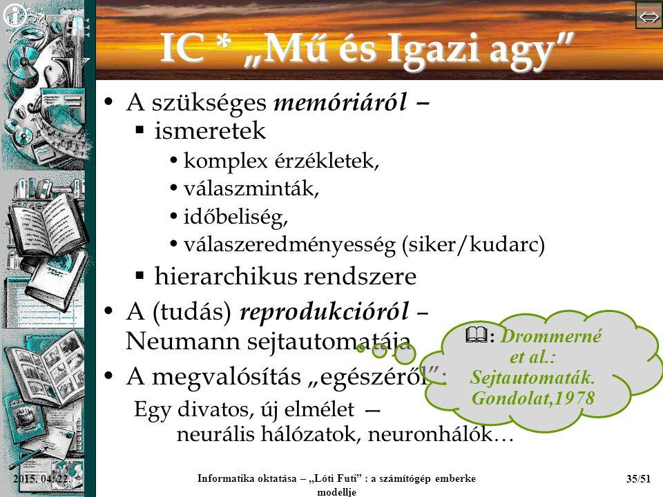 """  Informatika oktatása – """"Lóti Futi"""" : a számítógép emberke modellje 35/512015. 04. 22. IC * """"Mű és Igazi agy"""" A szükséges memóriáról –  isme"""