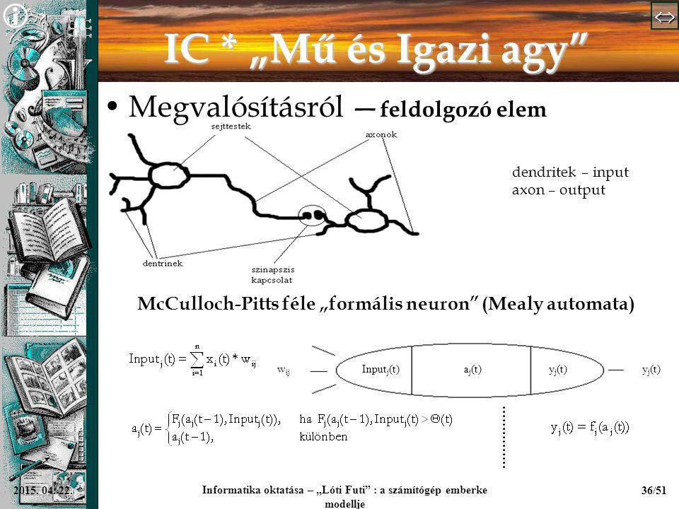 """  Informatika oktatása – """"Lóti Futi"""" : a számítógép emberke modellje 36/512015. 04. 22. IC * """"Mű és Igazi agy"""" Megvalósításról — feldolgozó el"""