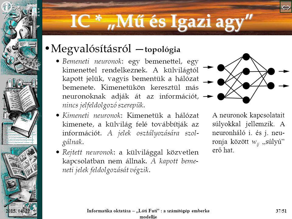 """  Informatika oktatása – """"Lóti Futi"""" : a számítógép emberke modellje 37/512015. 04. 22. IC * """"Mű és Igazi agy"""" Megvalósításról — topológia  B"""