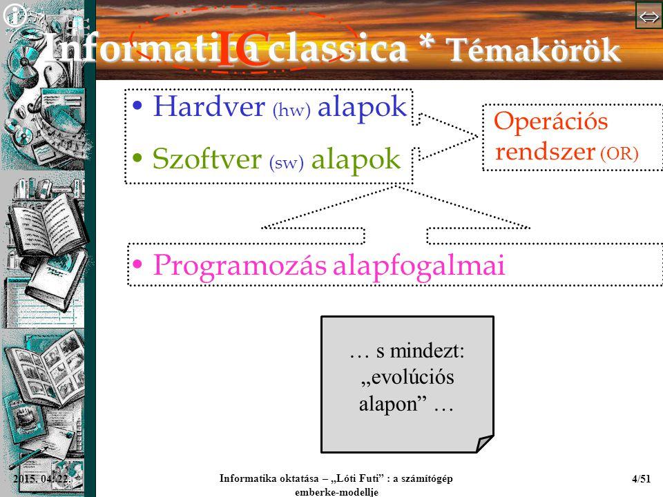 """  Informatika oktatása – """"Lóti Futi"""" : a számítógép emberke-modellje 4/512015. 04. 22. Informatica classica * Témakörök Hardver (hw) alapok Sz"""