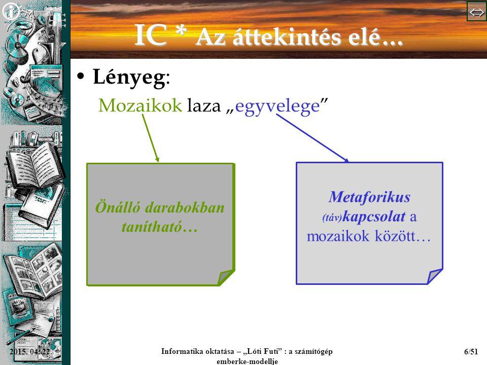 """  Informatika oktatása – """"Lóti Futi"""" : a számítógép emberke-modellje 6/512015. 04. 22. IC * Az áttekintés elé… Lényeg : Mozaikok laza """"egyvele"""