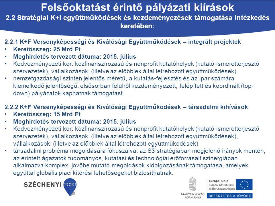 2.2.1 K+F Versenyképességi és Kiválósági Együttműködések – integrált projektek Keretösszeg: 25 Mrd Ft Meghirdetés tervezett dátuma: 2015. július Kedve