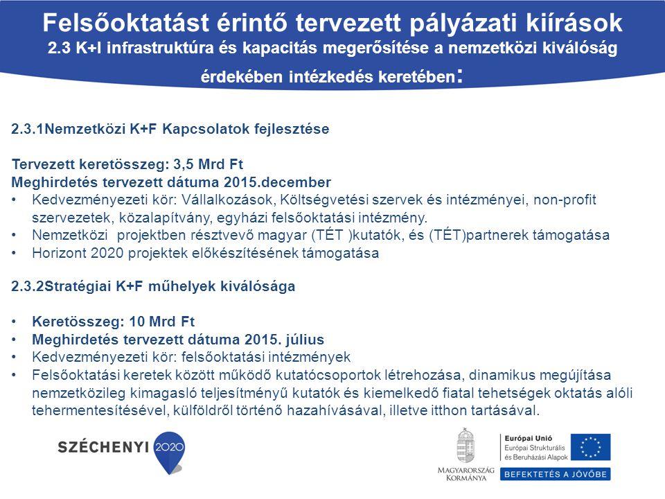 2.3.1Nemzetközi K+F Kapcsolatok fejlesztése Tervezett keretösszeg: 3,5 Mrd Ft Meghirdetés tervezett dátuma 2015.december Kedvezményezeti kör: Vállalko