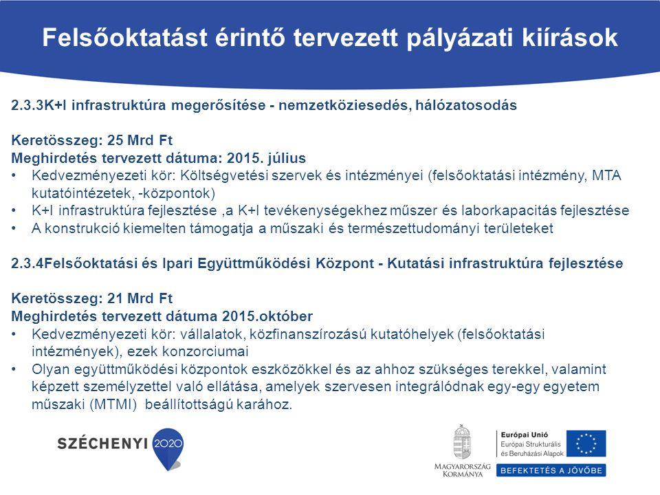 2.3.3K+I infrastruktúra megerősítése - nemzetköziesedés, hálózatosodás Keretösszeg: 25 Mrd Ft Meghirdetés tervezett dátuma: 2015. július Kedvezményeze