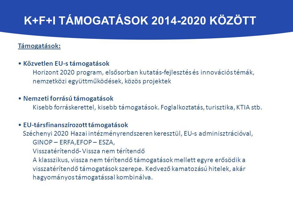 K+F+I TÁMOGATÁSOK 2014-2020 KÖZÖTT Támogatások: Közvetlen EU-s támogatások Horizont 2020 program, elsősorban kutatás-fejlesztés és innovációs témák, n