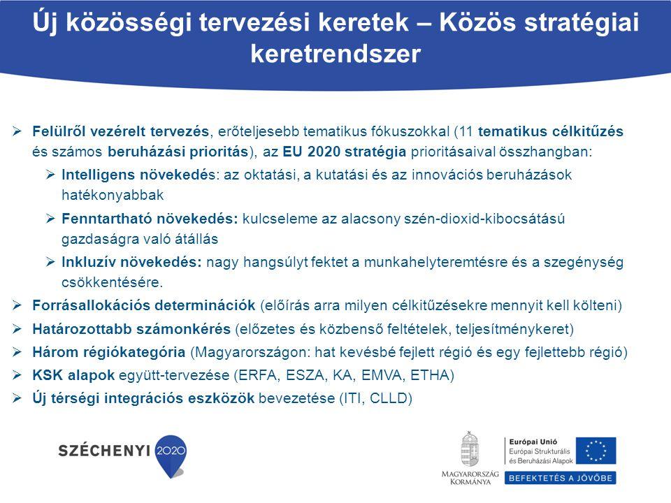  Felülről vezérelt tervezés, erőteljesebb tematikus fókuszokkal (11 tematikus célkitűzés és számos beruházási prioritás), az EU 2020 stratégia priori