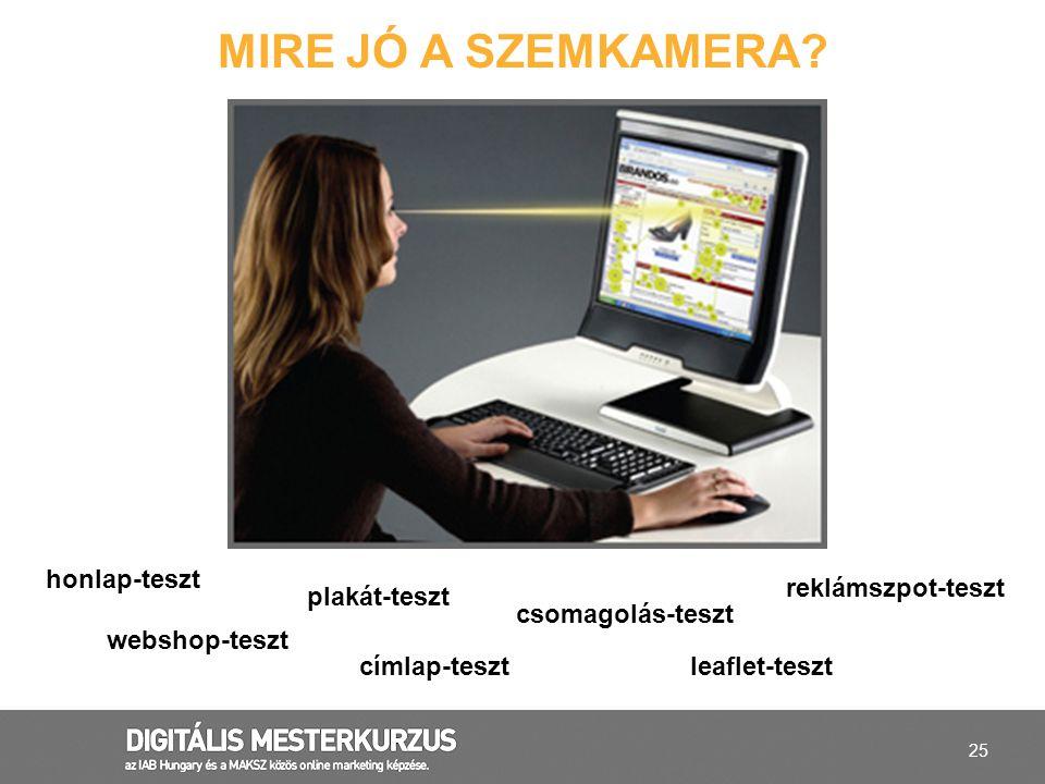 25 MIRE JÓ A SZEMKAMERA? honlap-teszt címlap-teszt reklámszpot-teszt webshop-teszt csomagolás-teszt leaflet-teszt plakát-teszt