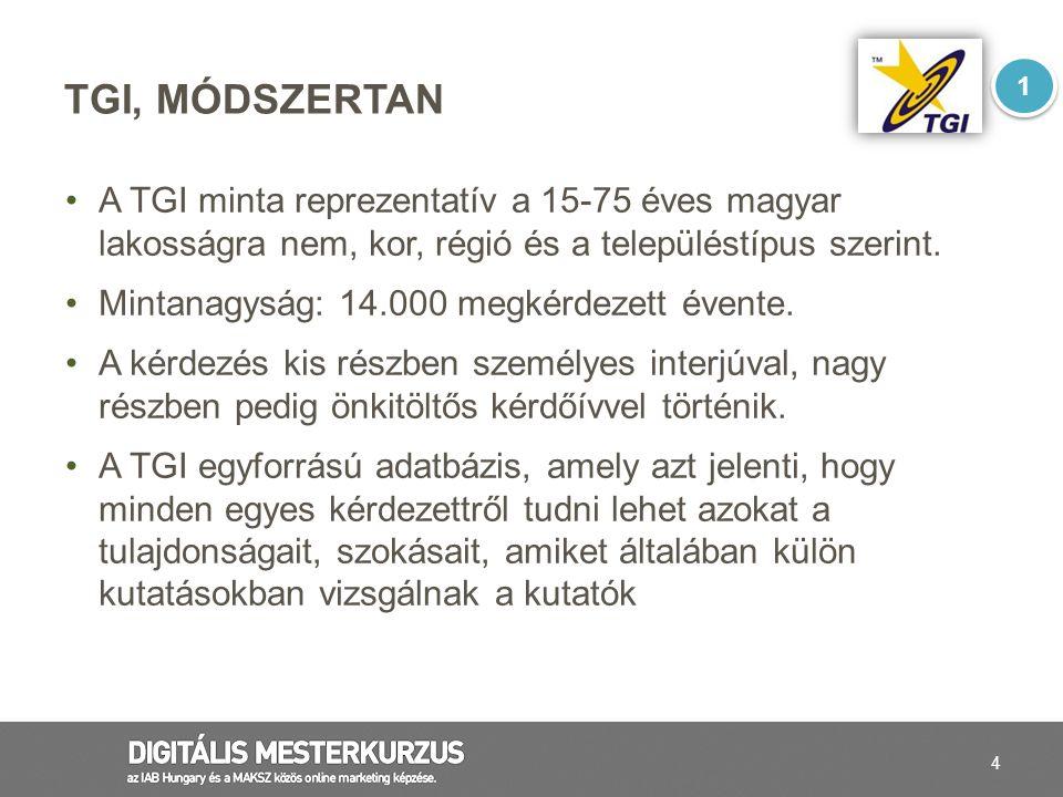 4 TGI, MÓDSZERTAN A TGI minta reprezentatív a 15-75 éves magyar lakosságra nem, kor, régió és a településtípus szerint. Mintanagyság: 14.000 megkérdez