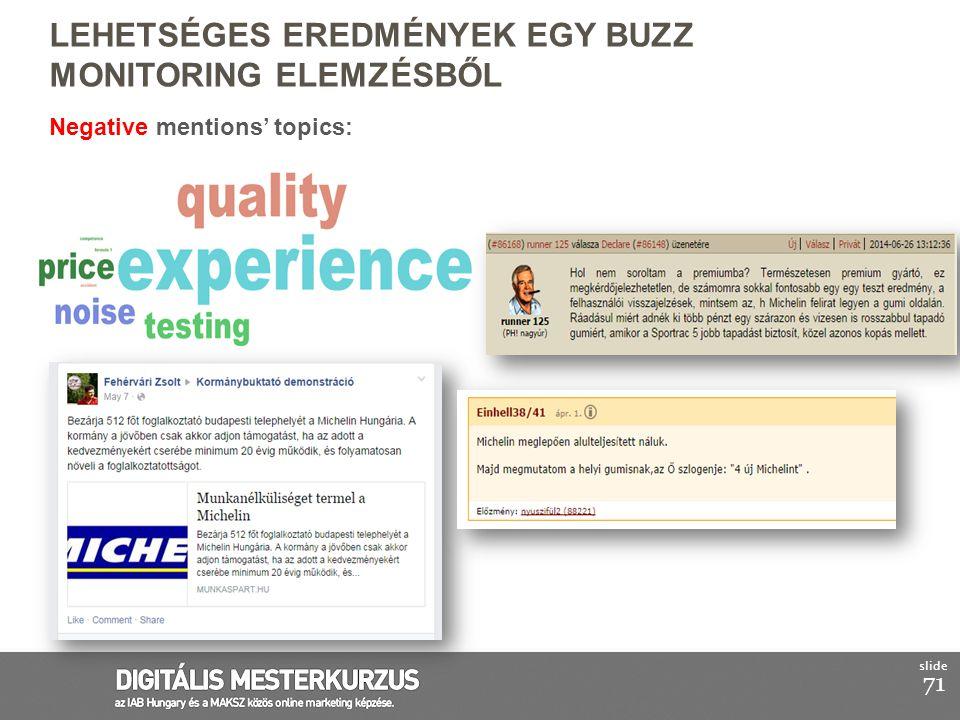 71 slide Negative mentions' topics: LEHETSÉGES EREDMÉNYEK EGY BUZZ MONITORING ELEMZÉSBŐL