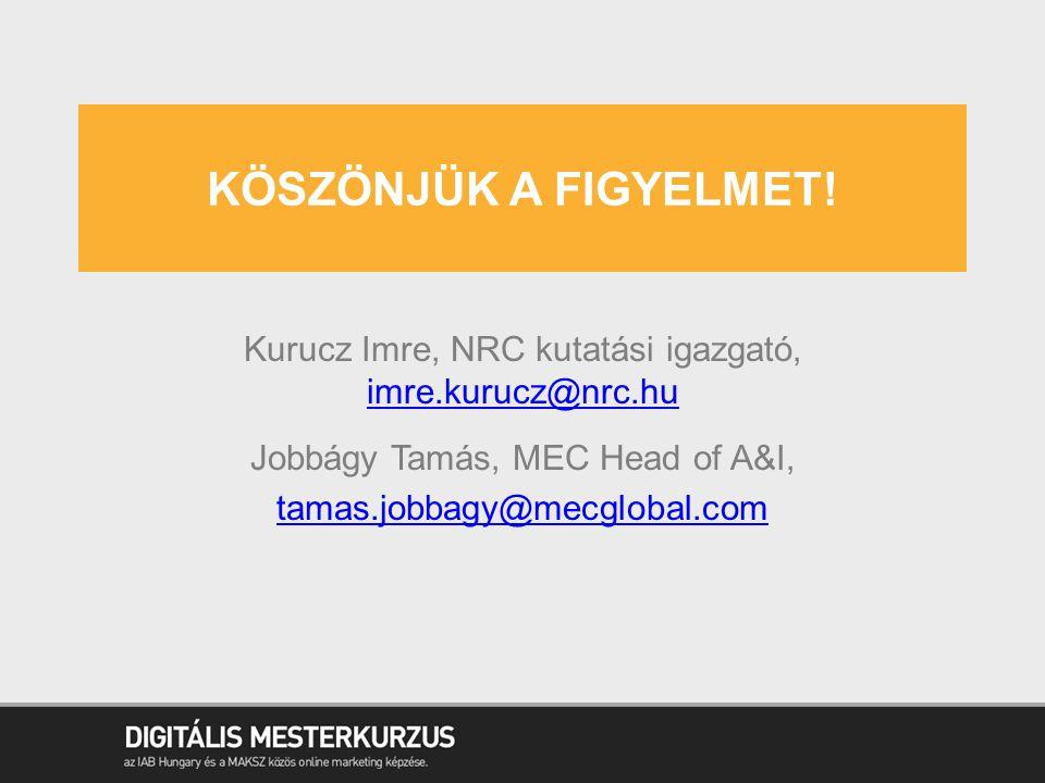 KÖSZÖNJÜK A FIGYELMET! Kurucz Imre, NRC kutatási igazgató, imre.kurucz@nrc.hu imre.kurucz@nrc.hu Jobbágy Tamás, MEC Head of A&I, tamas.jobbagy@mecglob