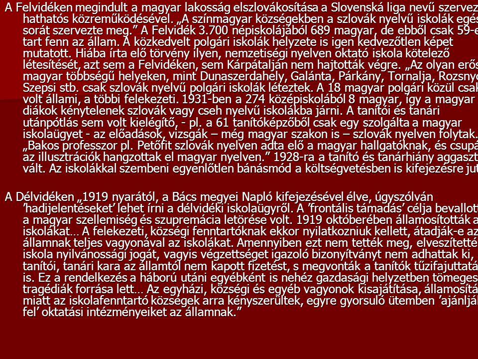 """A Felvidéken megindult a magyar lakosság elszlovákosítása a Slovenská liga nevű szervezet hathatós közreműködésével. """"A színmagyar községekben a szlov"""