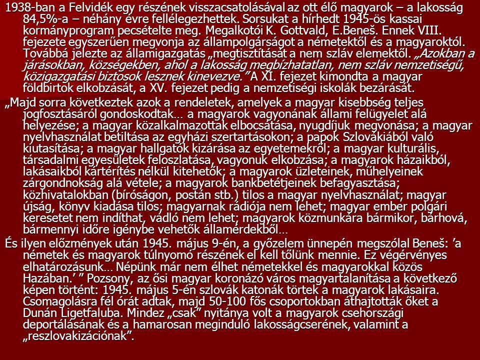 1938-ban a Felvidék egy részének visszacsatolásával az ott élő magyarok – a lakosság 84,5%-a – néhány évre fellélegezhettek. Sorsukat a hírhedt 1945-ö
